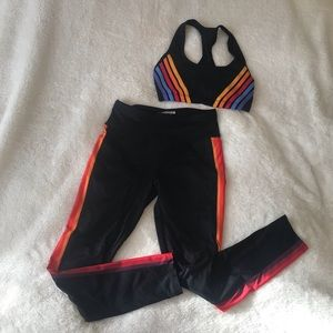 Rainbow Stripe Workout Set Sports Bra and Leggings